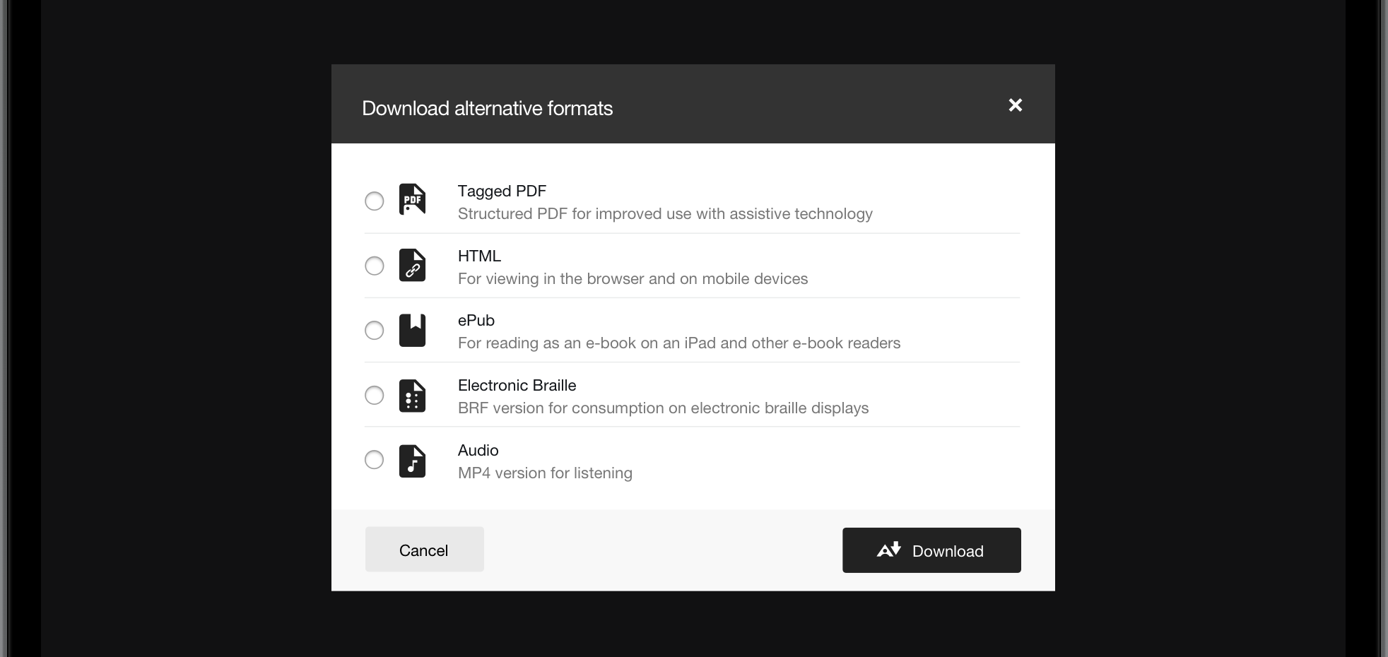 Blackboard Ally alternative formats interface showing various download options for content
